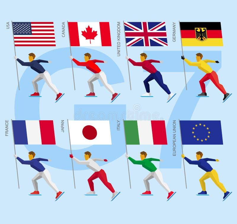 Reeks eenvoudige vlakke atleten die met vlaggen van Groep van Zeven schaatsen stock illustratie