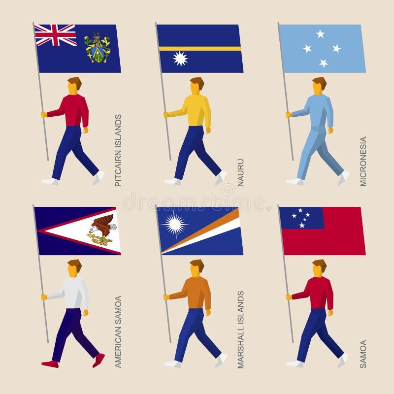 Reeks eenvoudige vlakke mensen met vlaggen van landen in Oceanië stock illustratie