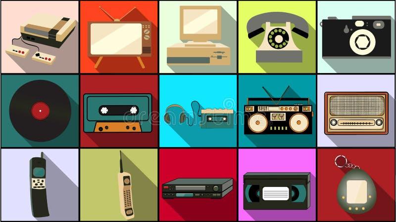 Reeks eenvoudige vlakke stijlpictogrammen met lange schaduw van oude retro uitstekende hipsterelektronika, mobiele telefoons, cam vector illustratie
