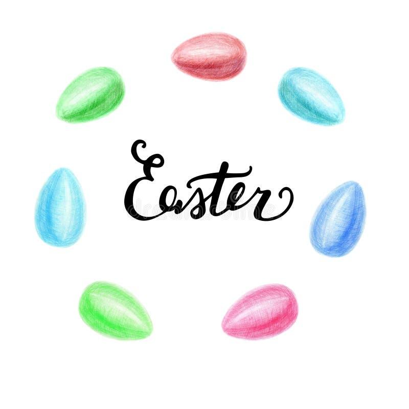 Reeks Eieren, Pasen-Vakantiedecoratie, op Witte Ontwerpelementen dat worden geïsoleerd stock afbeeldingen
