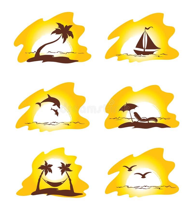 Reeks - eiland en palmen stock illustratie