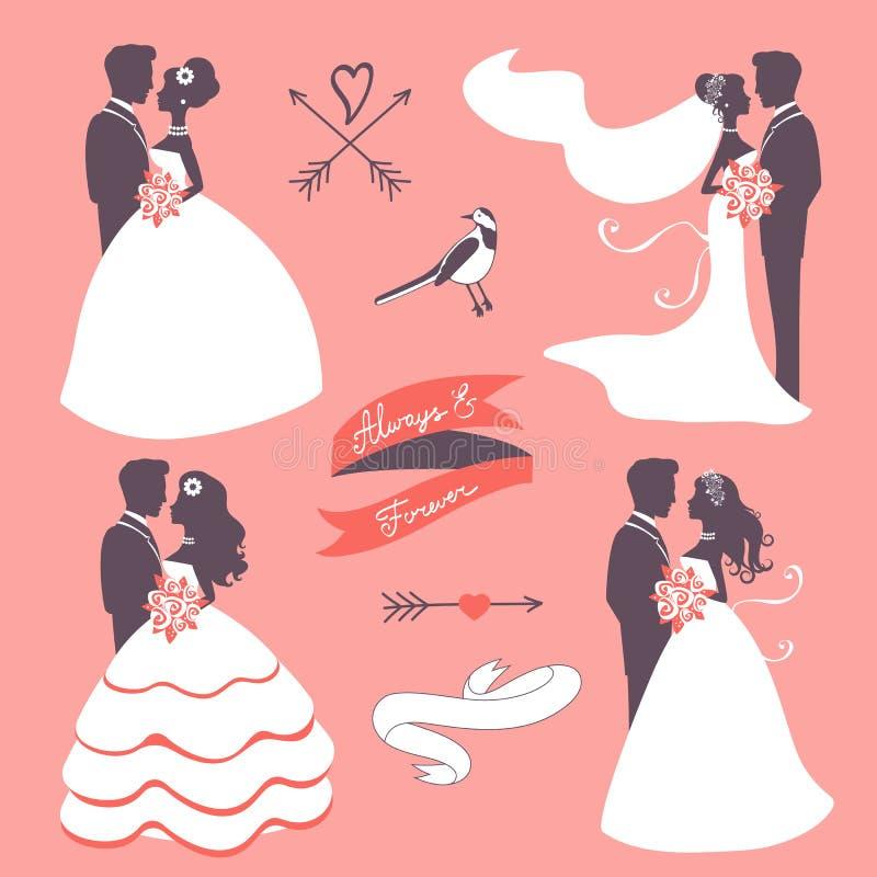 Reeks elegante huwelijksparen in silhouet vector illustratie