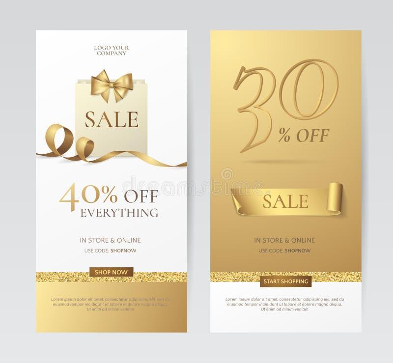 Reeks elegante verticale banners met document het winkelen zak, gouden boog en lint vector illustratie