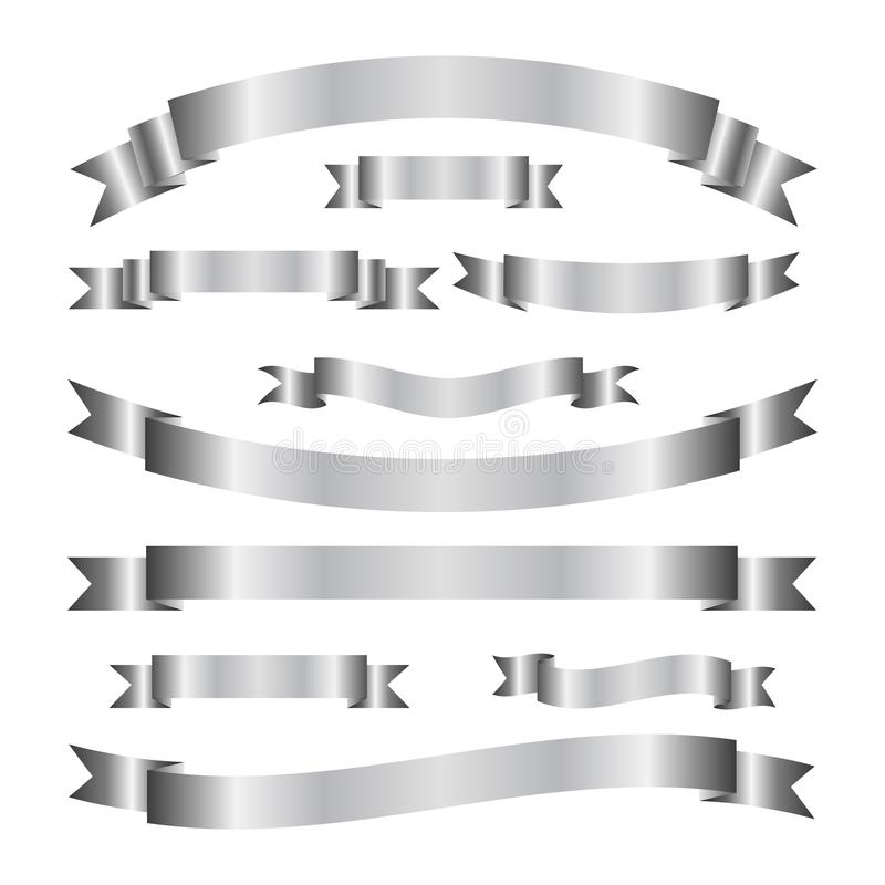 Reeks elegante zilveren lintbanners Rolbanden Het winkelen markeringen en pictogrammen royalty-vrije illustratie