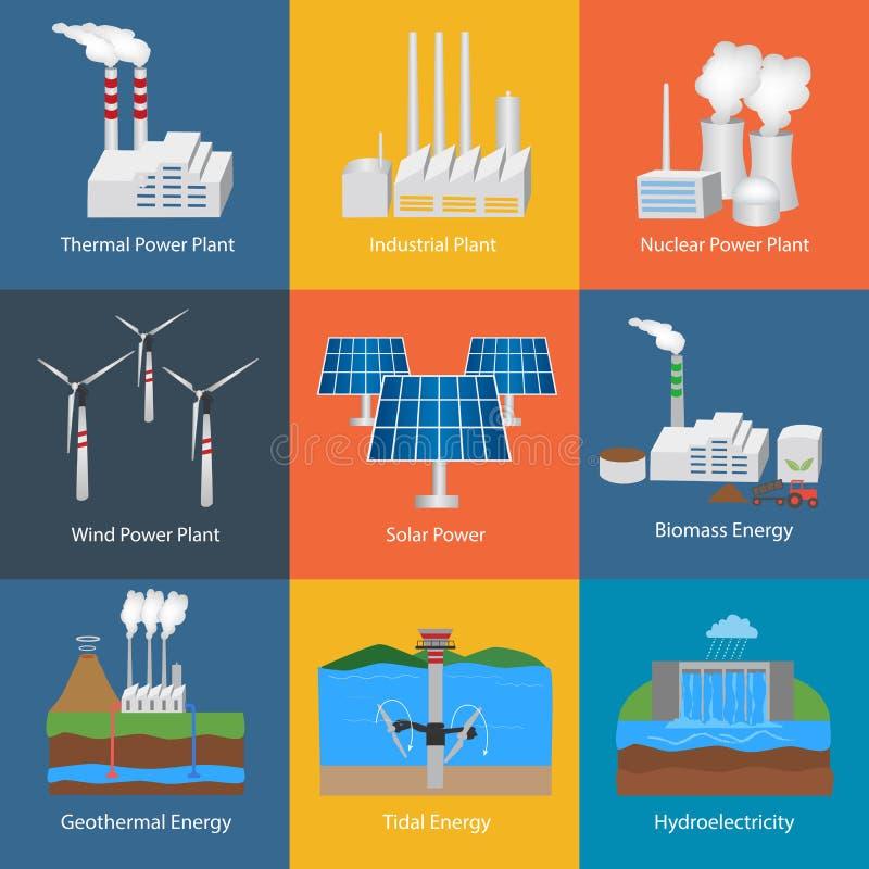 Reeks Elektrische centrales en fabrieken stock illustratie