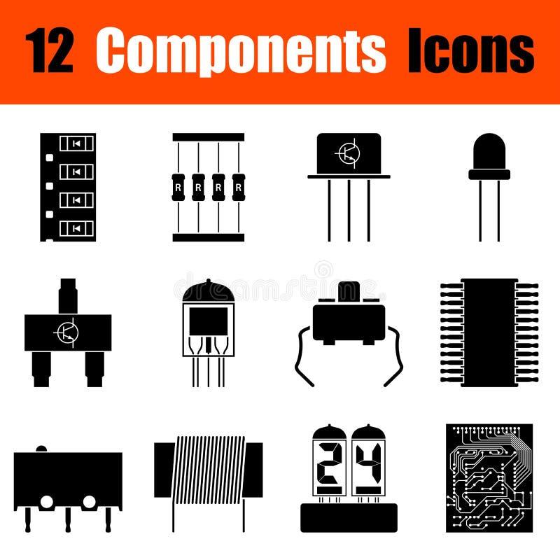 Reeks elektronische componentenpictogrammen stock illustratie