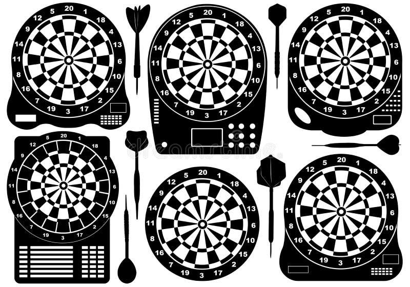 Download Reeks Elektronische Dartboards Vector Illustratie - Illustratie bestaande uit teken, inzameling: 29512253