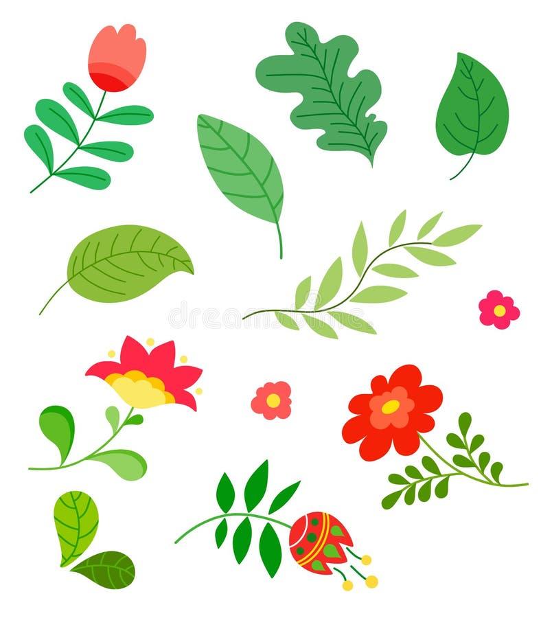 Reeks elementen, bloemen, bladeren, vlak ontwerp, handtekening, vectorillustratie