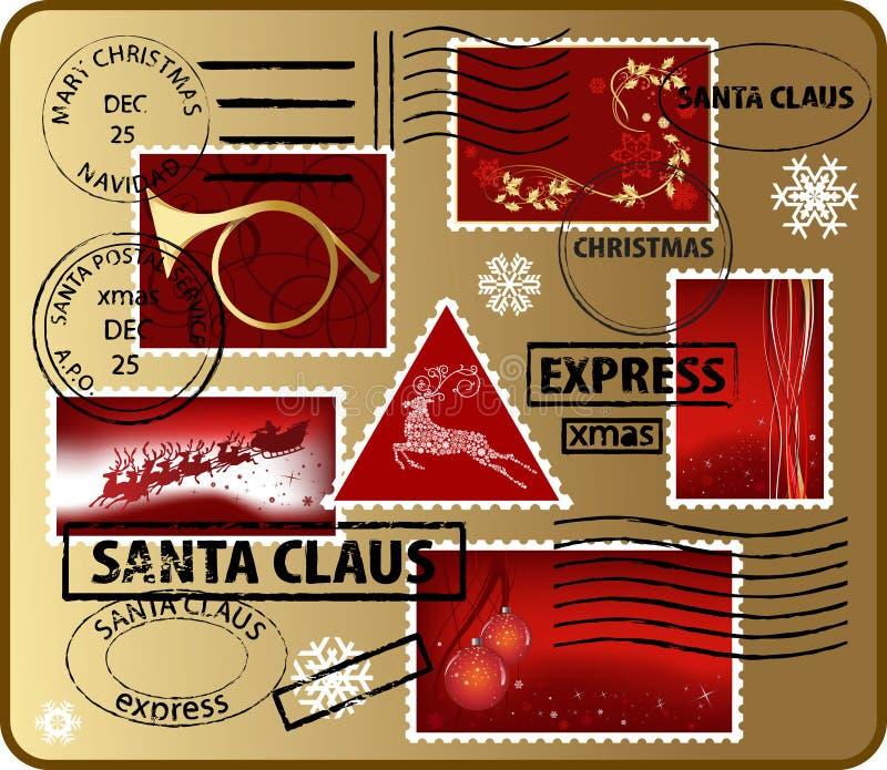 Reeks elementen van de post van Kerstmis royalty-vrije illustratie