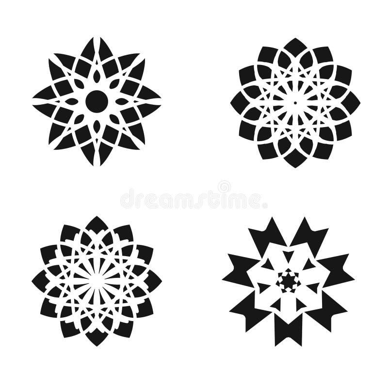 Reeks elementen van het bloemontwerp Zwarte die pictogrammen op witte achtergrond worden geïsoleerd vector illustratie