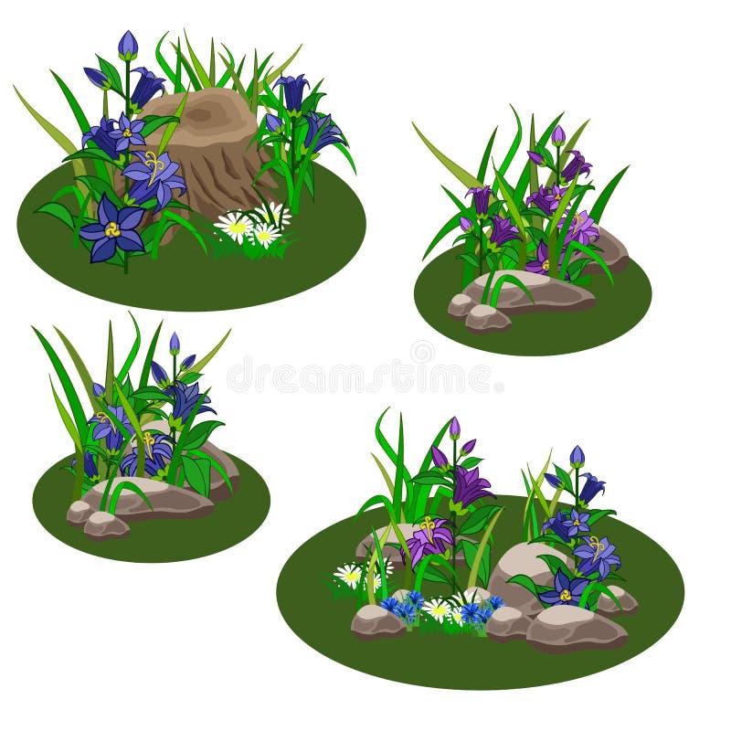 Reeks elementen van het de zomerlandschap om tuin of bosscène voor spelactiva of beeldverhaal tot stand te brengen vector illustratie