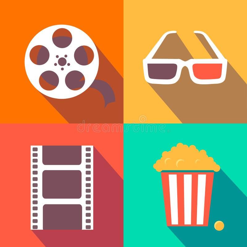 Reeks elementen van het filmontwerp en de vlakke bioskooppictogrammen vector illustratie