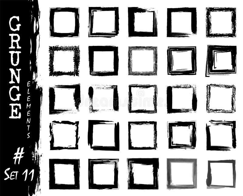 Reeks elementen van het grunge vierkante kader De waterverf van de inktplons het schilderen ontwerp Vector illustratie vector illustratie