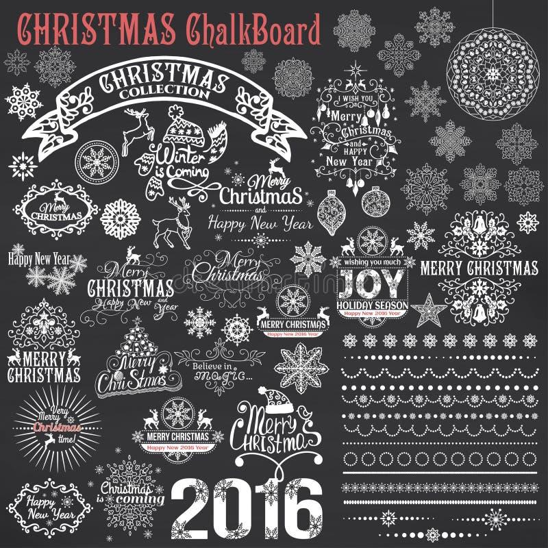 Reeks elementen van het Kerstmis kalligrafische ontwerp stock illustratie