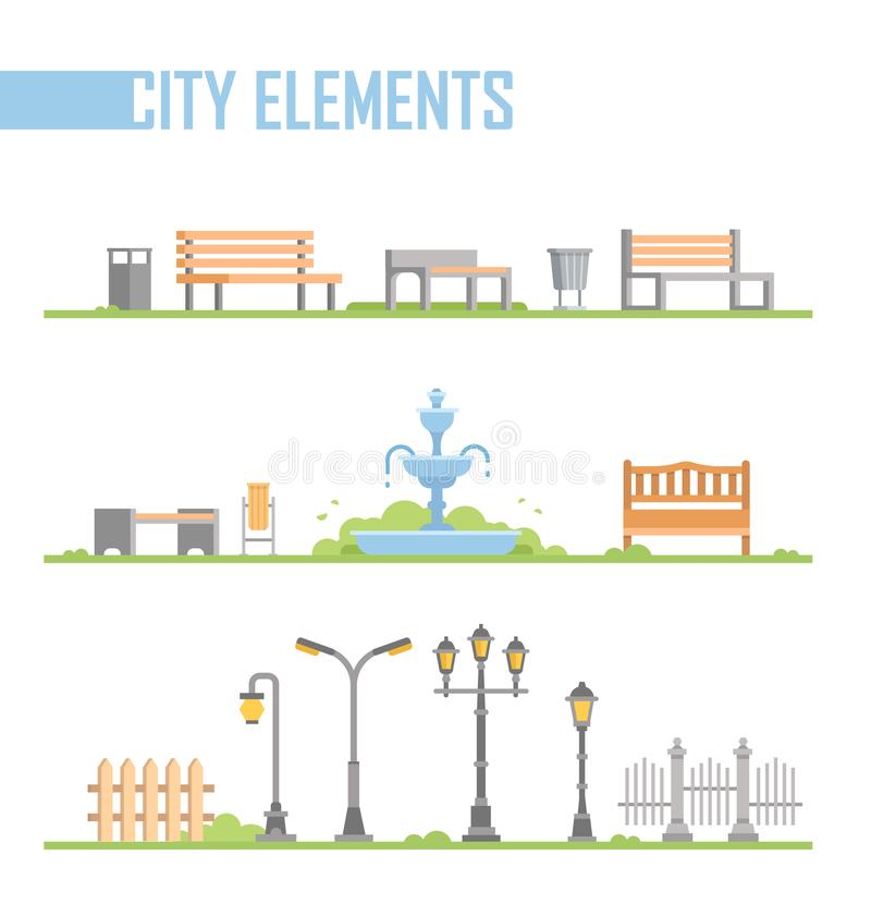 Reeks elementen van het stadspark - moderne vectorbeeldverhaal geïsoleerde illustratie vector illustratie