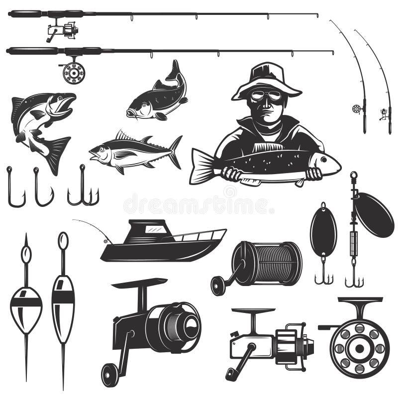 Reeks elementen van het visserijontwerp op witte achtergrond worden geïsoleerd die Ima royalty-vrije illustratie
