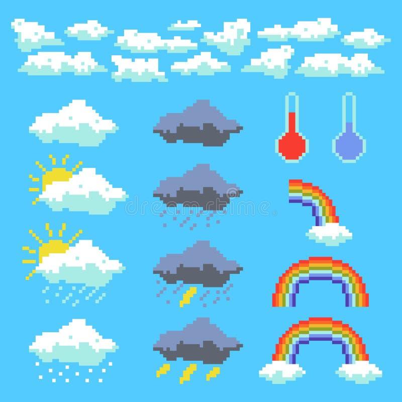 Reeks elementen van het weerpixel Wolken, onweerswolken, regenboog Vector illustratie stock illustratie