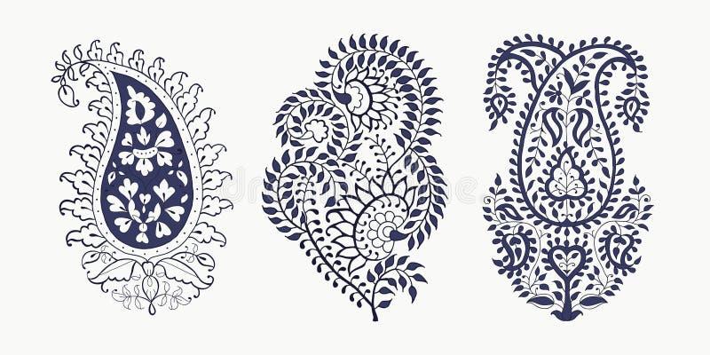 Reeks elementen van Paisley stock illustratie