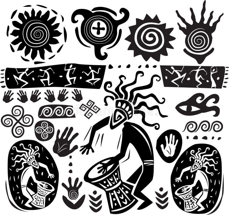 Reeks elementen van primitief art. vector illustratie