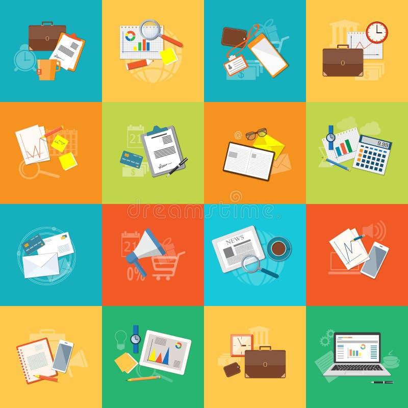Reeks elementen voor inhoud van onderwijs, zaken, marketing stock illustratie