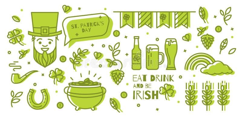 reeks elementen voor St Patrick Dag vector illustratie