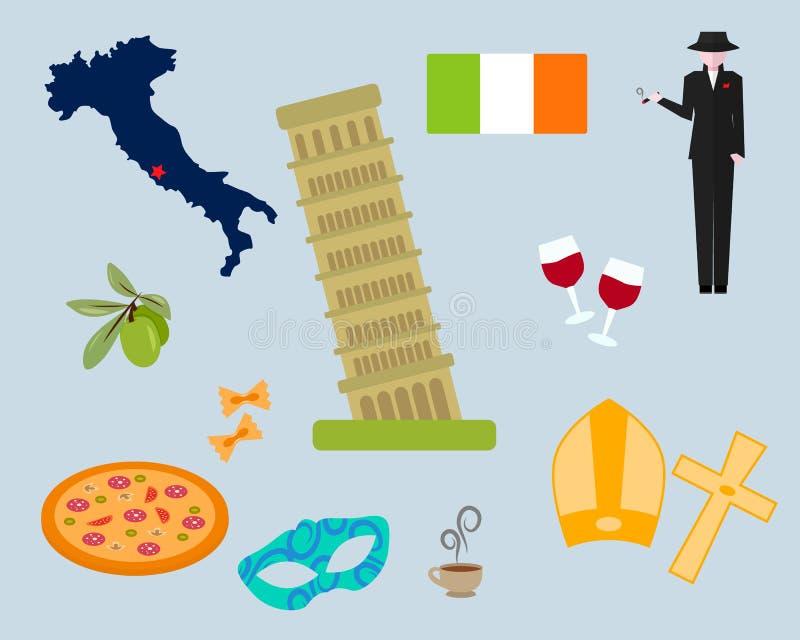 Reeks elementensymbolen van Rome stock illustratie