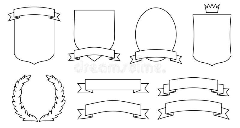 Reeks emblemen, kammen, schilden en rollen. JPG, EPS stock illustratie