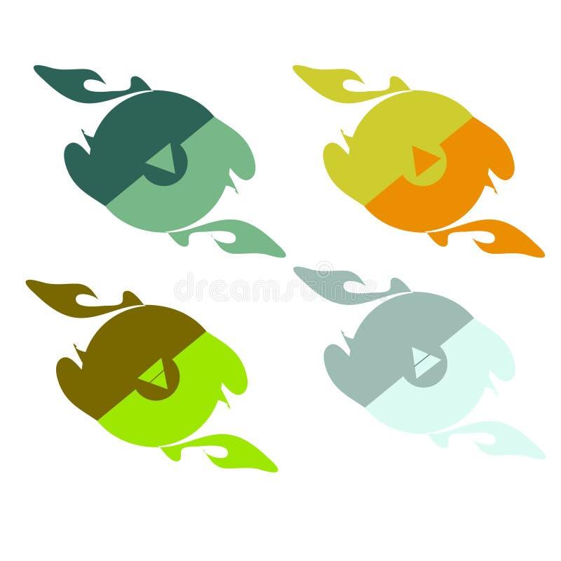 reeks emblemen met tekens van aardelementen stock illustratie