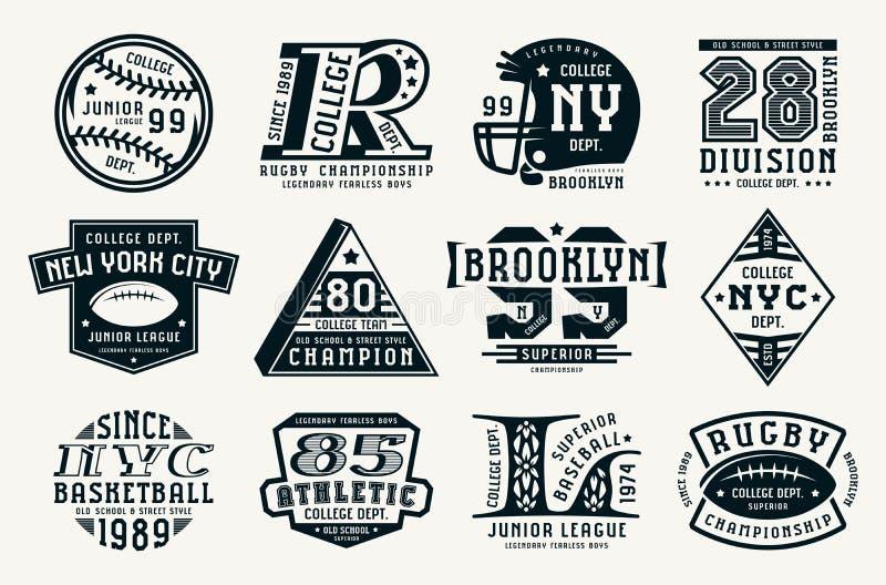 Reeks emblemen in sportstijl vector illustratie