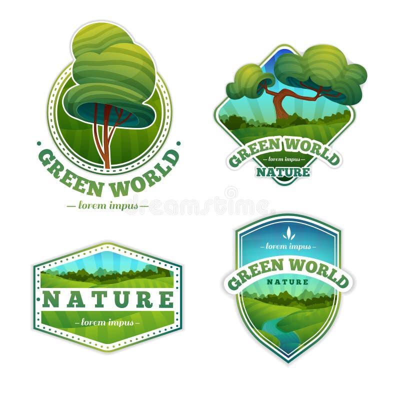 Reeks emblemen, tekens, kentekens met aard, landschap stock illustratie