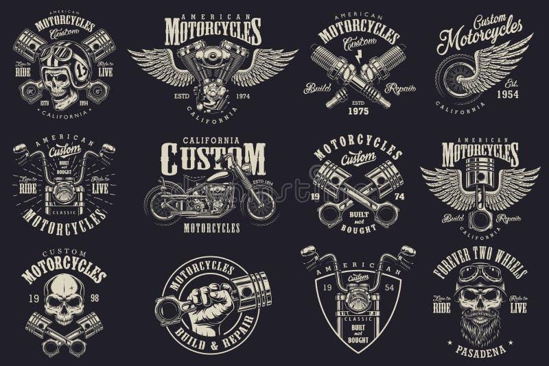 Reeks emblemen van de douanemotorfiets royalty-vrije illustratie