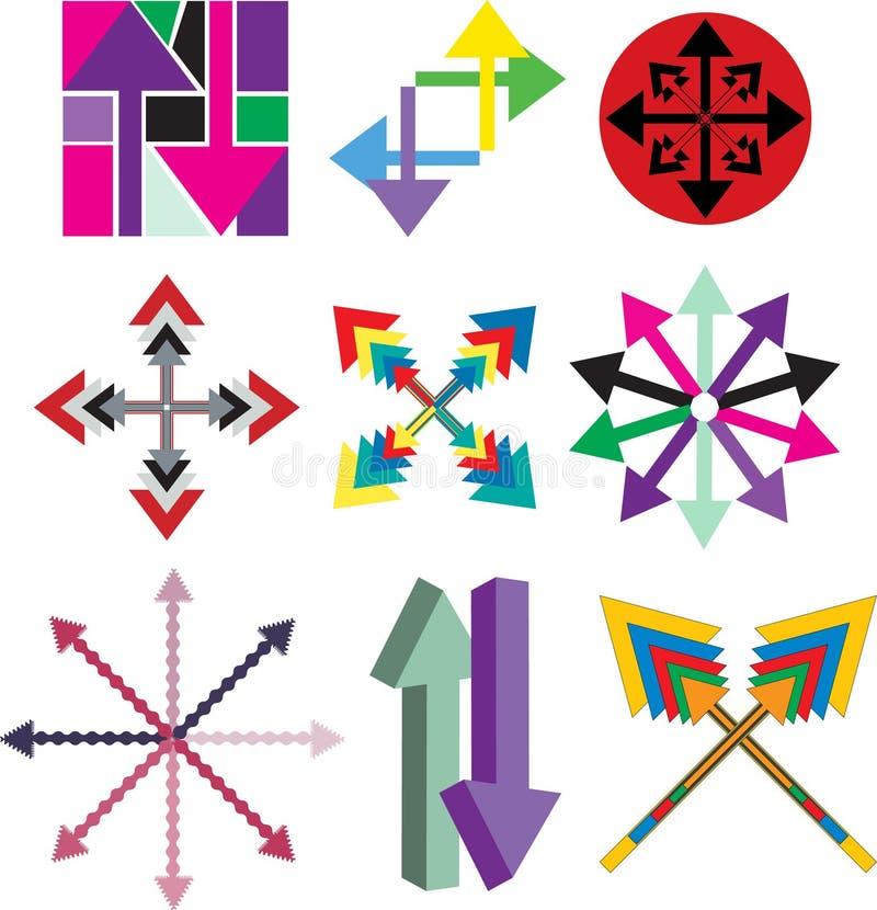 Reeks emblemen van het pijlbedrijf stock illustratie