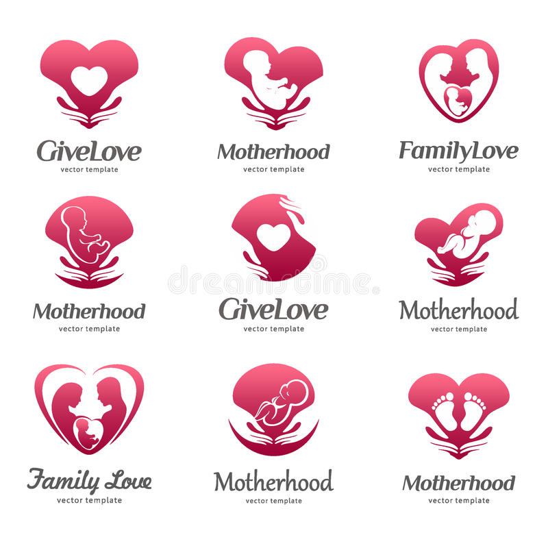 Reeks emblemen van moederschap, babyzorg, familieliefde, zwangerschap, zwangerschap royalty-vrije illustratie