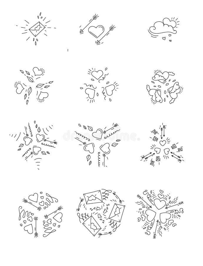 Reeks emblemen voor de dag van Valentine ` s met harten, liefdebrieven en pijlen van cupido, vectorreeks stock illustratie