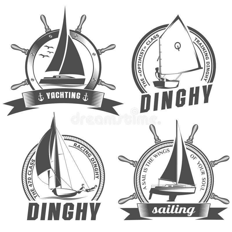Reeks emblemen voor het varen royalty-vrije illustratie