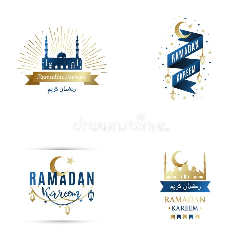 Reeks emblemen voor Islamitische heilige vakantie Ramadan Kareem stock illustratie