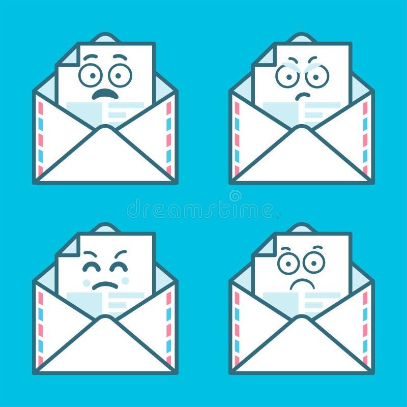 Reeks emojiberichten in brieven Concept boze, droevige glimlach Vlak modern logotype grafisch ontwerp van de stijltendens op blau royalty-vrije illustratie