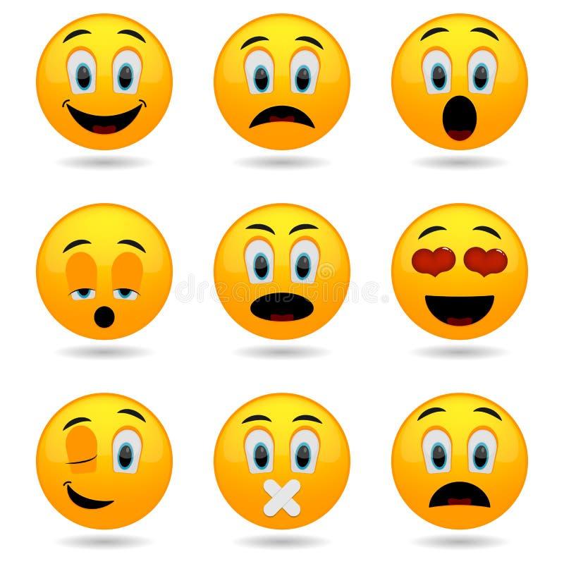 Reeks emoticons Glimlachpictogrammen Smileygezichten Emotionele grappige gezichten in glanzende 3D vector illustratie