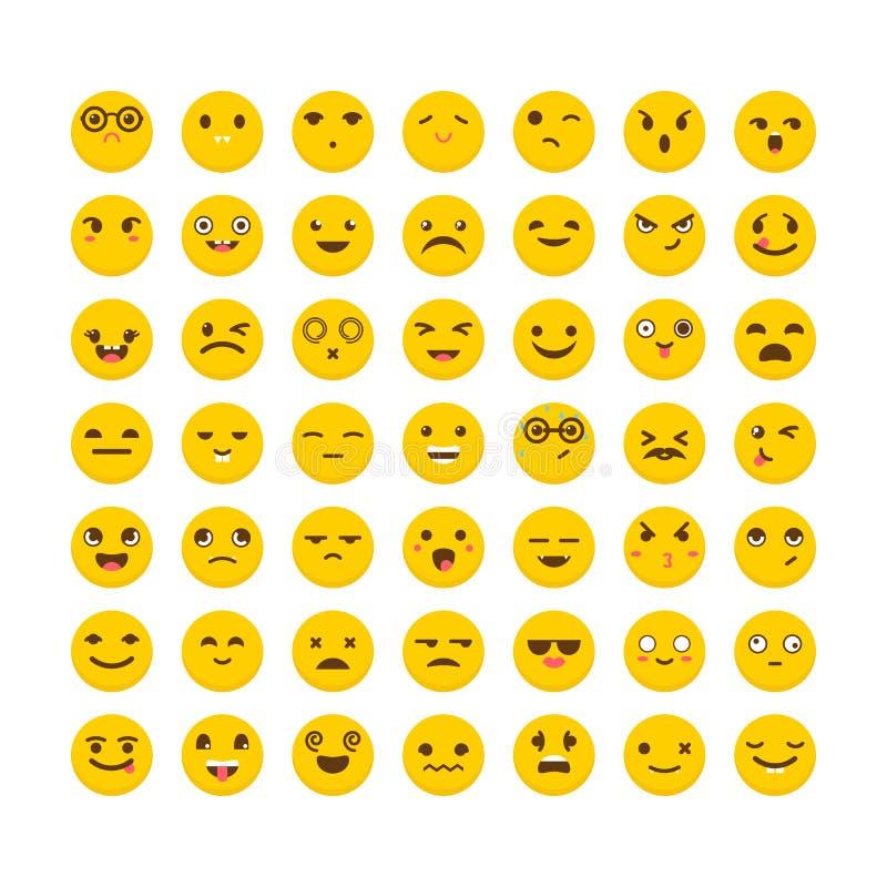 Reeks emoticons Leuke emojipictogrammen Vlak Ontwerp De grappige Gezichten van het Beeldverhaal avatars vector illustratie