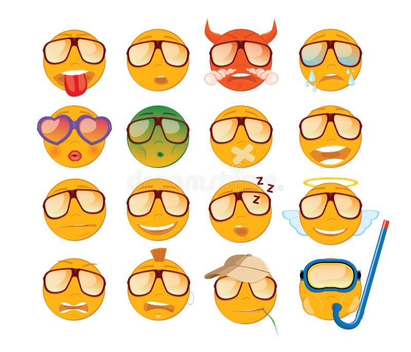 Reeks emoticons Zestien glimlachpictogram Gele emojis royalty-vrije illustratie