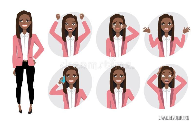 Reeks emoties voor zwarte Afrikaanse Amerikaanse bedrijfsvrouw royalty-vrije illustratie