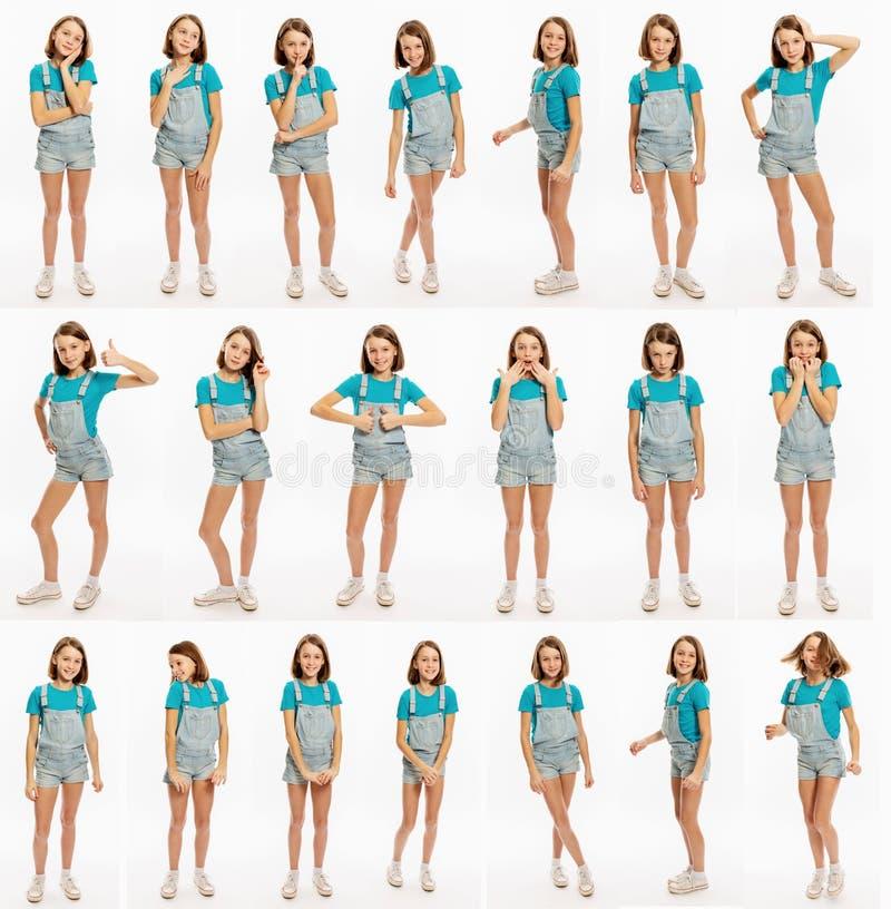 Reeks emotionele beelden van tienermeisje, volledige hoogte, close-up royalty-vrije stock foto