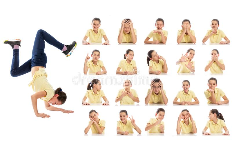 Reeks emotionele portretten van een tiener Collage van verschillende grimassen Ge?soleerd op een witte achtergrond royalty-vrije stock foto's