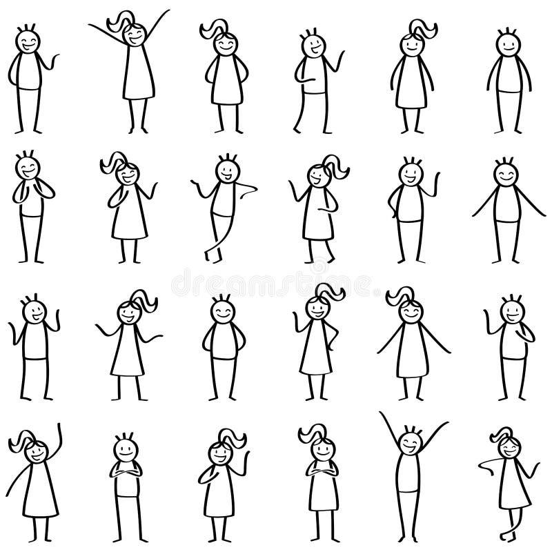 Reeks en stokcijfers, dezich bevindt, richtende, gelukkige mannen van stokmensen en vrouwen die glimlachen gesturing royalty-vrije illustratie