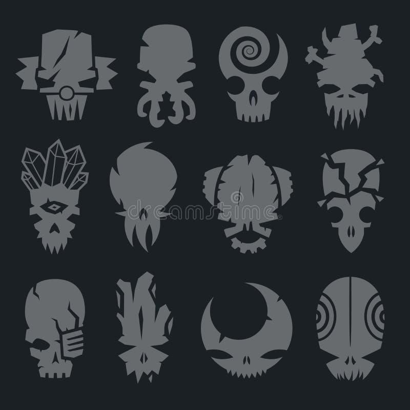 Reeks enge karakters van de monstersschedel vector illustratie