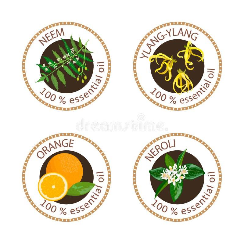 Reeks etherische oliënetiketten Kananga-olie, neem, neroli, sinaasappel stock illustratie