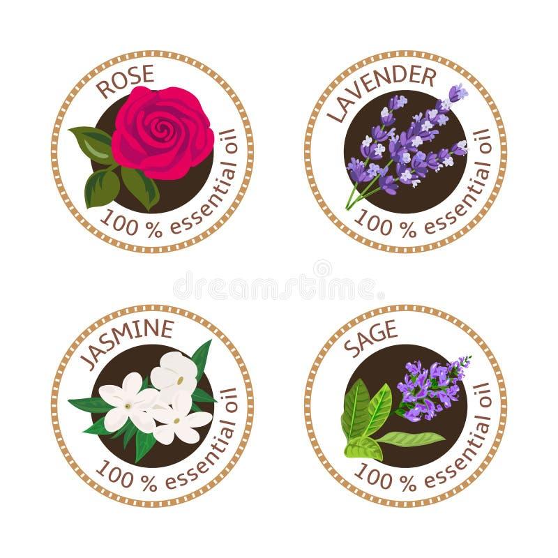 Reeks etherische oliënetiketten Nam, Salie, Lavendel, jasmijn toe stock illustratie