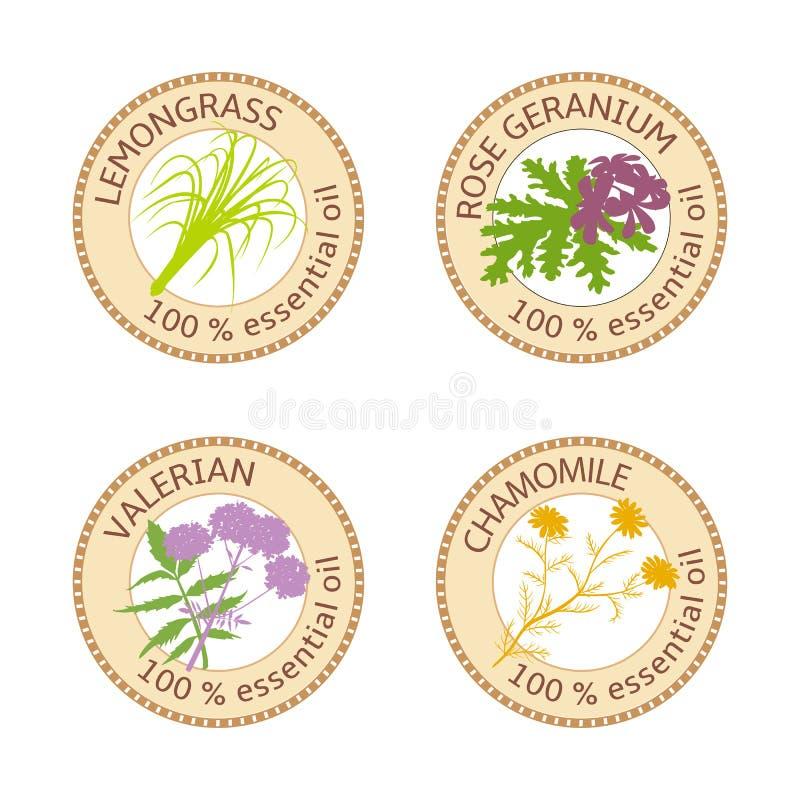 Reeks etherische oliënetiketten Rose Geranium, citroengras, Kamille, Valeriaankruid royalty-vrije illustratie