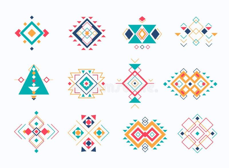 Reeks ethno stammen Azteekse symbolen de kleurrijke geometrische etnische inzameling van decorelementen stock illustratie
