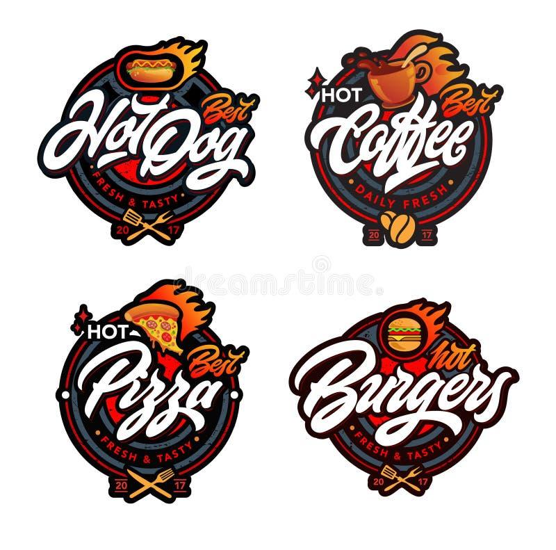 Reeks etiketten Burgers, pizza, hotdog, koffie royalty-vrije illustratie